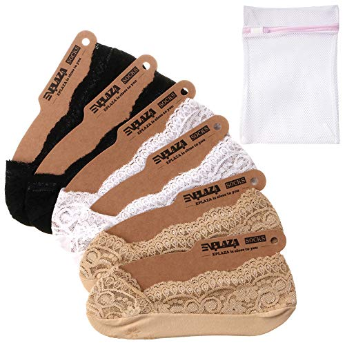 - EPLAZA 6 Pairs Silicone Grip Women Lace No Show Socks Non-Skid + 1 Wash Bag (a)