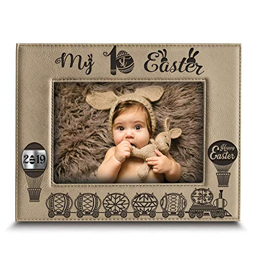 (BELLA BUSTA- My First Easter Picture Frame-Happy Easter Gift-Easter 2019-Easter Decorations- Engraved Leather Picture Frame (5
