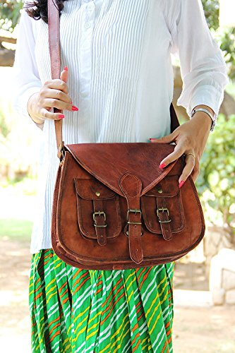 Women Vintage Style Genuine Brown Leather Cross Body Shoulder Bag Handmade - Handmade Purse Leather