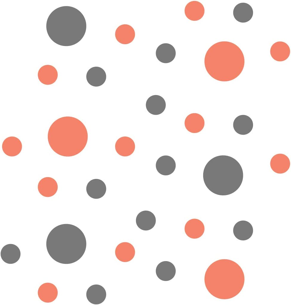 Coral/Grey Vinyl Wall Stickers - 2 & 4 inch Circles (30 Decals)