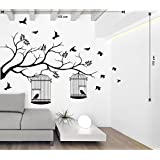 Printelligent Wall Sticker For Walls 'Vine With Bird Cage And Butterfly White Wall Sticker And Wallpaper Size(133*59)Cm