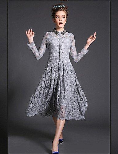 GSP-Damen Kleid - Übergrößen Übergröße / Sexy / Retro / Party / Arbeit / Leger Solide Midi Polyester / Elasthan / Spitze Hemdkragen