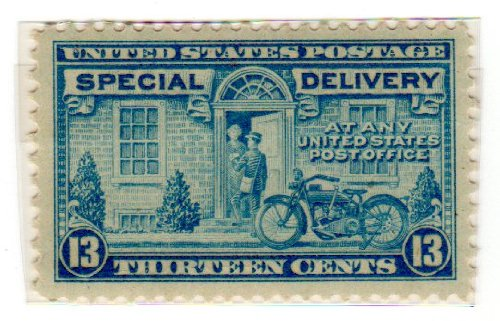 Amazon Postage Stamps United States One Single 13 Cents Blue Postman And Motorcycle Special Delivery Stamp Dated 1944 51 Scott E17 Toys Games