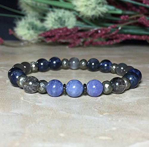 7.5mm Genuine Tanzanite Bracelet, December Birthstone, Relief from worries, Sodalite, Gray Moonstone, Himalayan Energy Quartz, (Genuine Tanzanite Bracelet)