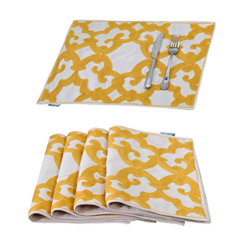 HWY 50 Linen Washable Yellow Embroidered Placemats Dining Table Heat Resistant Kitchen Table Mats 13 x 18 Inches Set of 4 European Geometric Window Grille Meal Pad