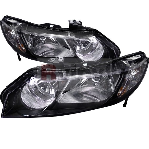 Spec-D Tuning 2LH-CV064JM-RS Honda Civic 4Dr Dx Lx Ex Oem Black Head Lights Lamps - Sedan Headlights 2011 Civic Honda