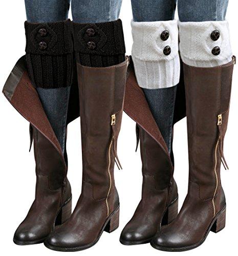 Sierry 2 Pairs Womens Boot Leg Cuffs, Leg Warmers Topper Socks, Boot Socks for Women