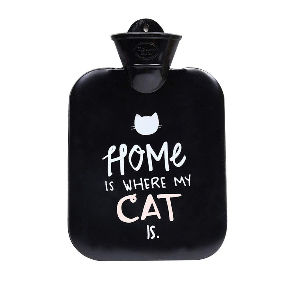 Topdo 1 Pcs Rubber Hot Water Bottle Bag Warm Relaxing Heat Explosion-Proof Hand Warmers for Women Men Girls Boys Christmas Birthday Winter Gift Black Cat 900ML