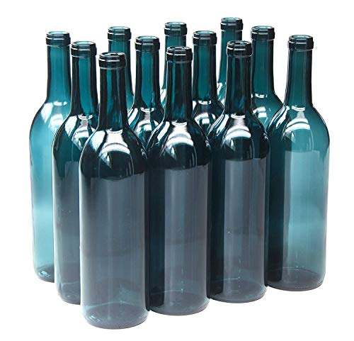 North Mountain Supply 750ml Glass Bordeaux Wine Bottle Flat-Bottomed Cork Finish - Case of 12 - Limited Edition Blue-Green