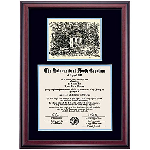 Campus Linens UNC Chapel Hill Tar Heels Diploma Frame Black Carolina Blue Matting Pen & Ink - Linens North Carolina University