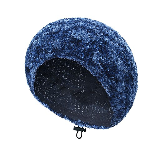 TEFITI Knited Chenille Snoods with Lining Adjustable Beanie Beret Hair Covering Cap for Women (Dark Blue+Sky Blue)