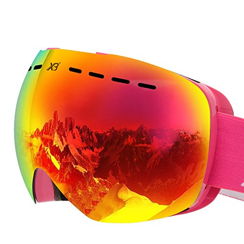 BluFied XB Ski Snowboard Snow Goggles Magnet Dual Layers Lens Spherical Design Anti-fog UV Protection Anti-slip Strap for Men & Women (Dual Lens Snow)
