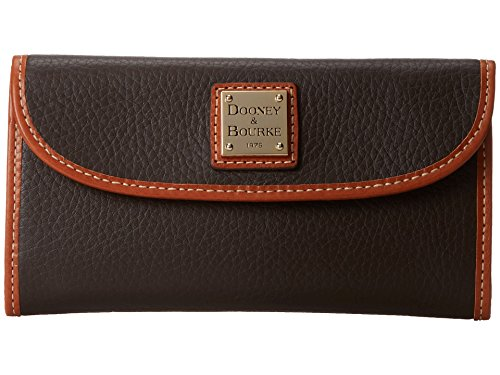 - Dooney & Bourke Pebble Leather Continental Clutch Chocolate