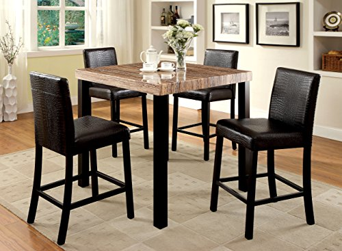 Furniture of America Bahia 5-Piece Contemporary Faux Marble Top Pub Dining Set