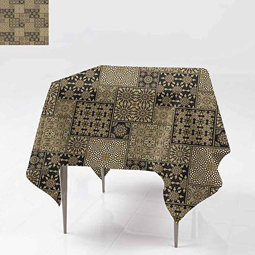 Square Table Cloth,Abstract Seamless Patchwork Pattern from Black and Gold Oriental Ornaments Round and Square Rosette Stylized Golden Flowers for Square and Round Tables 70x70 Inch Leaves Geo - Metro Pub Vinyl