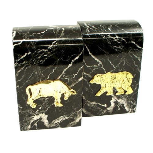 Marble Stock Market Bookends - Marble Bull and Bear Stock Market Wall Street Bookends