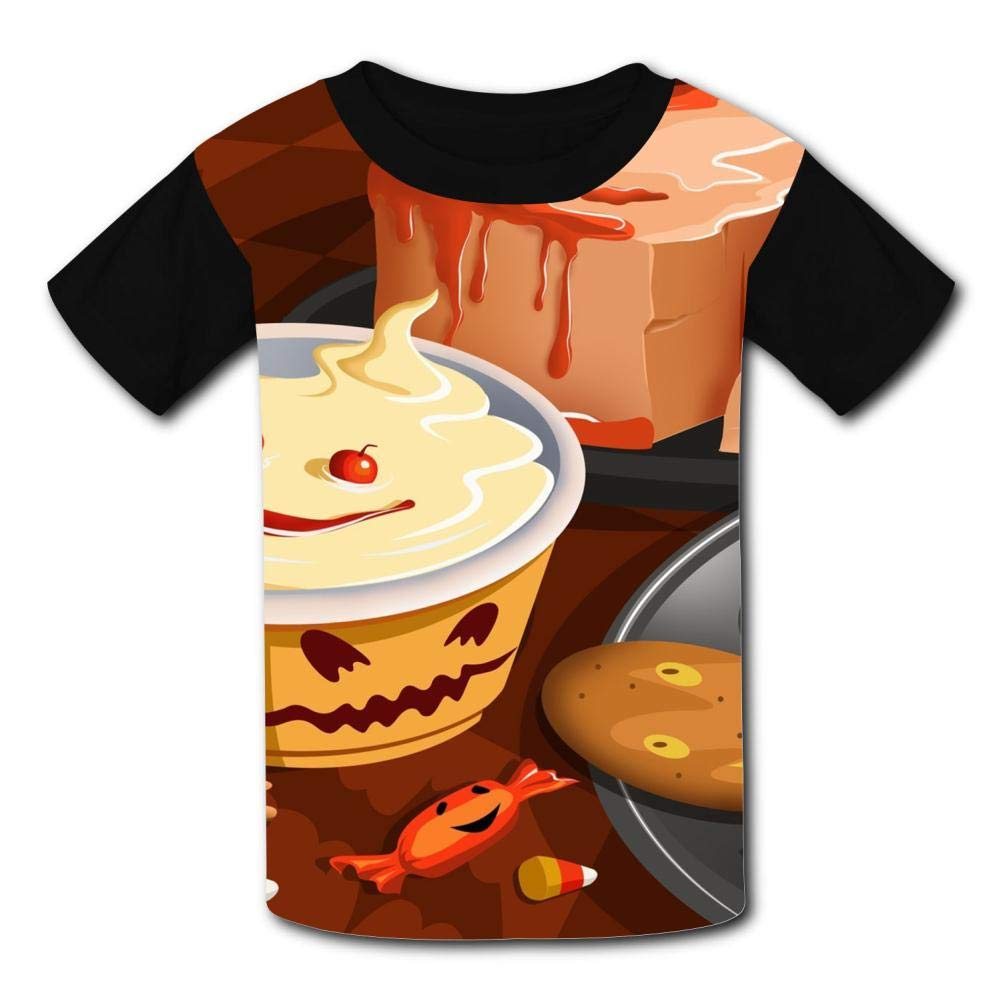 Kids//Youth Funny Halloween Desserts Comfortable T-Shirts Short Sleeve Children Tees Funny Creative