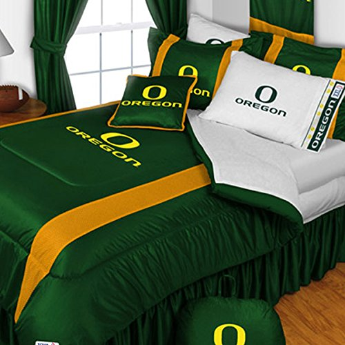 - 3pc NCAA Oregon Ducks King Comforter and Pillowcase Set College Team Logo Bedding