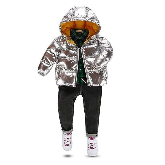 8cbfcf7a2 SIMPLE-H Bomber Jackets Silver Kids Coat Winter Unisex Down Jacket ...