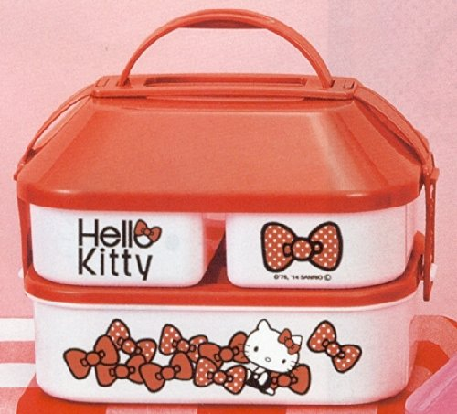 Sanrio Hello Kitty Bow Design 2-tier Large Size Bento Lunch Box (Red)