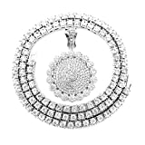 HH Bling Empire Mens Iced Out Hip Hop Gold Artificial Diamond Ankh Cross cz Tennis Chain 22 Inch (Silver-Tennis-Flower A)