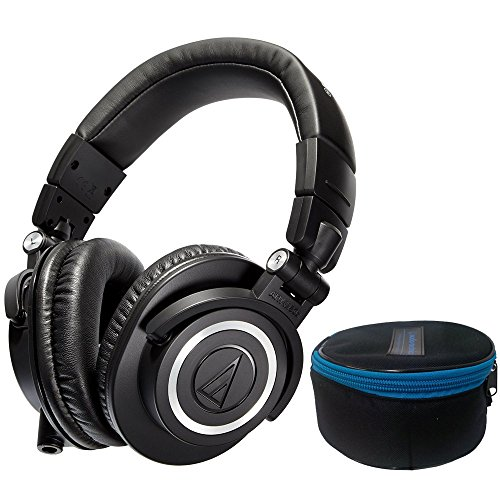 Audio-Technica ATH-M50x Monitor Headphones (Black) with a Professional monitor headphone case by Audio-Technica