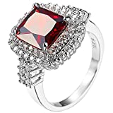 XAHH Jewelry 925 Sterling Silver Plated Red Cubic Zirconia Engagement Wedding Promise Eternity Ring 10
