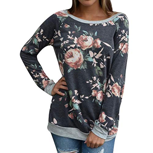 ANJUNIE Womens Casual Floral Print Pullover Splicing O-Neck T-Shirt Blouse Sweatshirt Tops Sweater(Gray,L) (Kinder Nike)