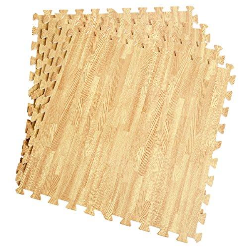48 Sq Ft EVA Foam Floor Interlocking Mat Show Floor Gym Mat Wood Color with Ebook