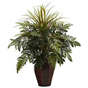 Nearly Natural 6754 Mixed Grass and Fern with Decorative Planter, Green 108