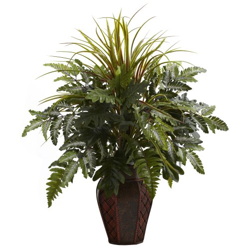 Nearly Natural 6754 Mixed Grass and Fern with Decorative Planter, Green by Nearly Natural
