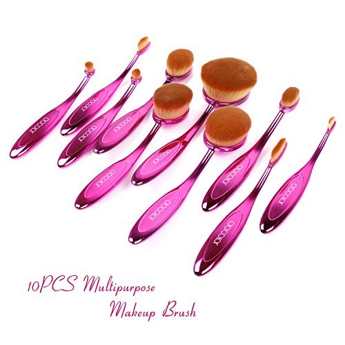Docolor 10Pcs Oval Makeup Brushes Set Face Foundation Gift Kits New (Purple)