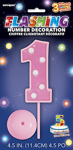 Flashing Pink Number Topper Decoration