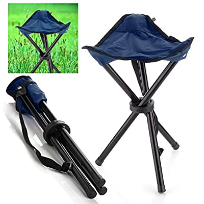 Flexzion Camping Folding Stool (Deep Blue) Portable 3 Legs Chair Tripod Seat for Outdoor Hiking Fishing Picnic Travel Beach BBQ Garden Lawn with Strap Oxford Cloth Small Size : Sports & Outdoors