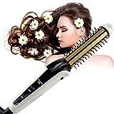 flat iron hair comb - Hair Straightener Comb, BlueTop Professional Portable 3 in 1 Hair Flat Iron&Hair Curler&Hot Hair Brush Ceramic Magic Crimper Iron New hair Styler Styling tools (White)