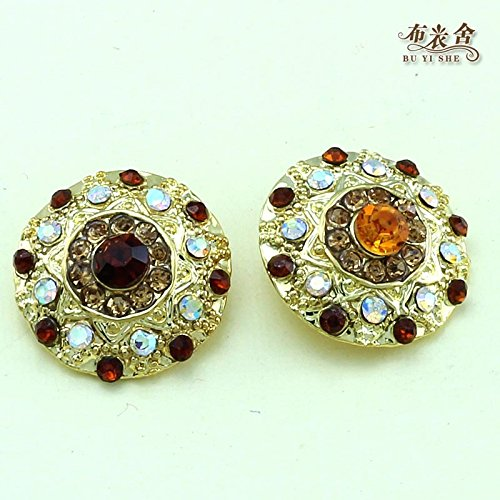 High-grade crystal buttons roses cashmere sweater mink fur coat collar buckle diamond pearl buttons cufflinks for Sewing Crafts Handmade Clothes - Rose Diamond Cufflinks