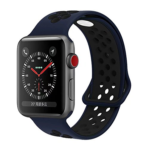 YC YANCH Greatou Compatible for Apple Watch Band 42mm,Soft Silicone Sport Band Replacement Wrist Strap Compatible for iWatch Apple Watch Series 3/2/1,Nike+,Sport,Edition,M/L,Black Midnightblue