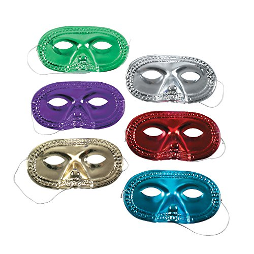 Metallic Half-Masks (2 dz) (Halloween Accessories)