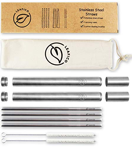 (Reusable Straws with Case | Stainless Steel Straws Portable & Washable | Eco Travel Straw | Metal Straw Set (4 Drinking Straws + 2 Cotton Cleaning Brushes + 2 Metal Cases) by Leafico)