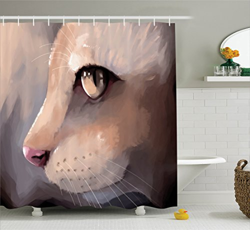 Cat Lover Decor Shower Curtain Set By Ambesonne, Illustration Cat Portrait Kitty Zoom Face Big Eyes Whiskers Meow Contemporary Artful Design, Bathroom Accessories, 69W X 70L Inches, Cream (Kitty World Whisker)