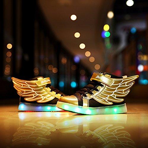 Scarpe Light Up Dogeek Led Angel Wings Scarpe Bambini Scarpe Brillanti Boy Girl Tennis Led Scarpe Da Ginnastica Oro