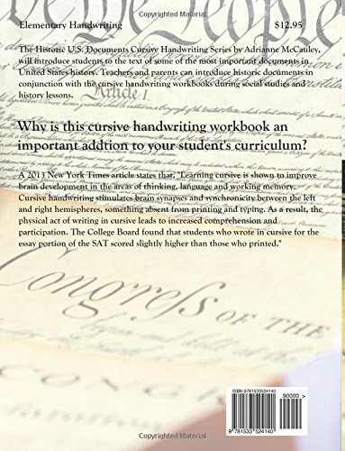 Counting Number worksheets letter trace worksheets : Cursive Handwriting Copybook: Historic U.S. Documents (Declaration ...
