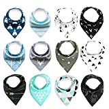 100% Cotton Soft Drool Bibs for Boys & Girls Cotton Bib Set for Infant Baby