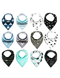 KS Infant Toddler Unisex Baby 100% Cotton Bandana Drool Bibs Set,12Pcs
