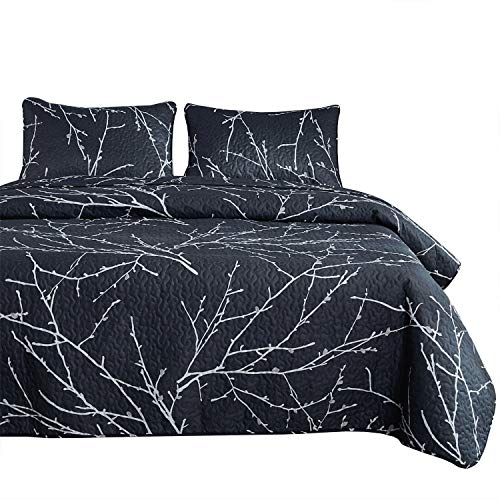 Wake In Cloud - Branches Quilt Set, Dark Gray Grey Charcoal with Tree Pattern Printed, Soft Microfiber Bedspread Coverlet Bedding (3pcs, King Size)