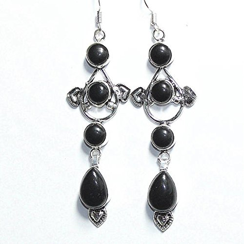 Overlay Vintage Silver (Black Onyx Earring Silver Overlay Fashion Jewellery Vintage Antique Designer Statement Prom Bridal Jewelry Dangle Bohemian 3.25 Inches Sale.)