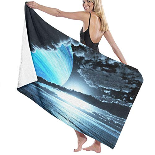 Microfiber Quick Dry Super Absorbent Bath Towel - Blue Planet Clouds Ocean Beach Towels for Adults, Swim, Water Sports, SPA and Beach Holidays