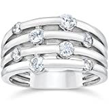 14K White Gold 1ct Real Diamond Right Hand Ring