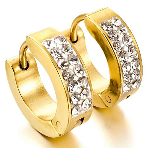 INBLUE Men's Stainless Steel Stud Hoop huggie Earrings CZ Silver Gold (Gold Tone Huggie Earrings)