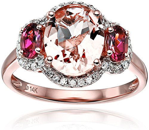 14k Rose Gold Morganite, Pink Tourmaline and Diamond 3-Stone Halo Engagement Ring (1/6cttw, H-I Color, I1-I2 Clarity), Size 7